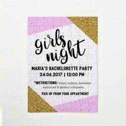 Bachelorette Πρόσκληση Puzzle & Κονκάρδα Gold & Pink