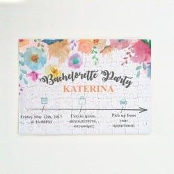 Bachelorette Πρόσκληση Puzzle & Κονκάρδα Spring Bloom