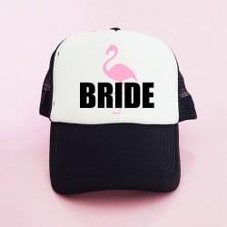 """Flamingo Bride"" Μαύρο Bachelorette Καπέλο Νύφης"