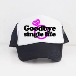 """Goodbye Single Life"" Μαύρο Bachelorette Καπέλο Νύφης"