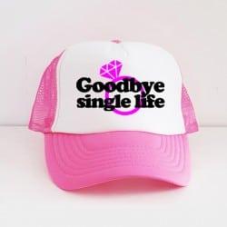 """Goodbye Single Life"" Φούξια Bachelorette Καπέλο Νύφης"