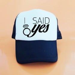 """I Said Yes"" Μαύρο Bachelorette Καπέλο Νύφης"