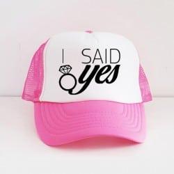 """I Said Yes"" Φούξια Bachelorette Καπέλο Νύφης"