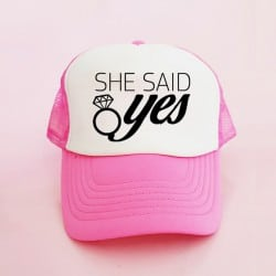 """She Said Yes"" Φούξια bachelorette καπέλο για τις φίλες της νύφης"