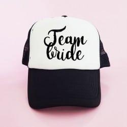 """""""Team Bride"""" Μαύρο bachelorette καπέλο για τις φίλες της νύφης"""