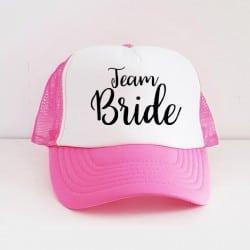 """""""Team Bride"""" Φούξια bachelorette καπέλο για τις φίλες της νύφης"""