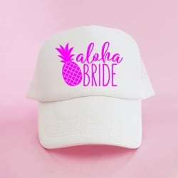 """Aloha Pineapple"" Λευκό jockey καπέλο νύφης"
