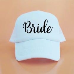"""Bride"" Λευκό jockey καπέλο νύφης"