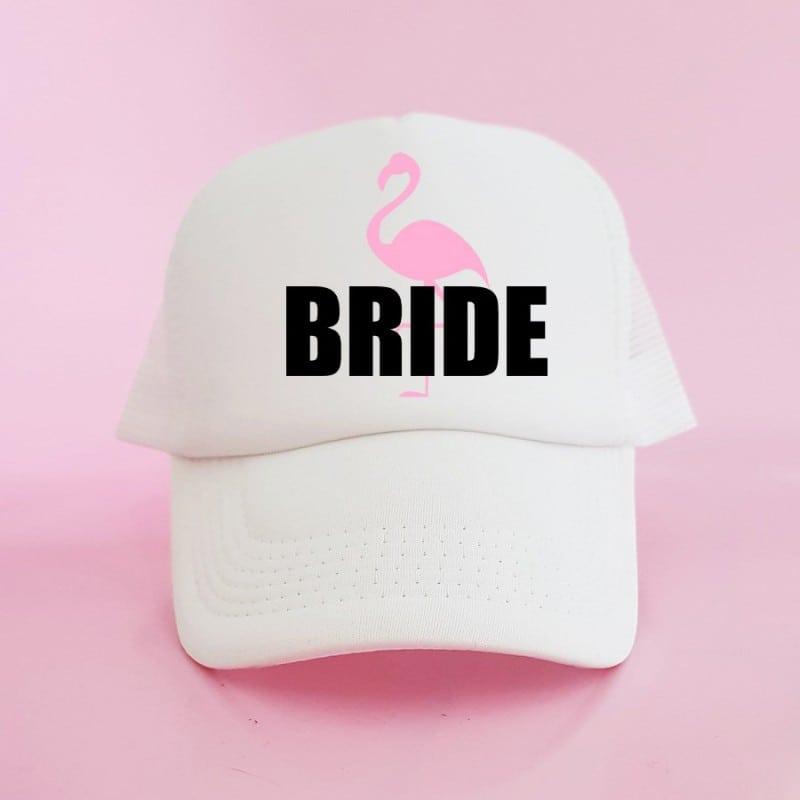 """Flamingo"" Λευκό jockey καπέλο νύφης"