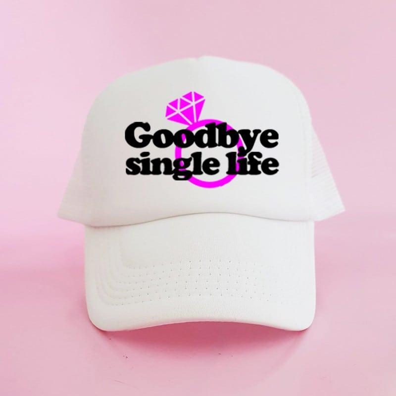 """Goodbye Single Life"" Λευκό jockey καπέλο νύφης"