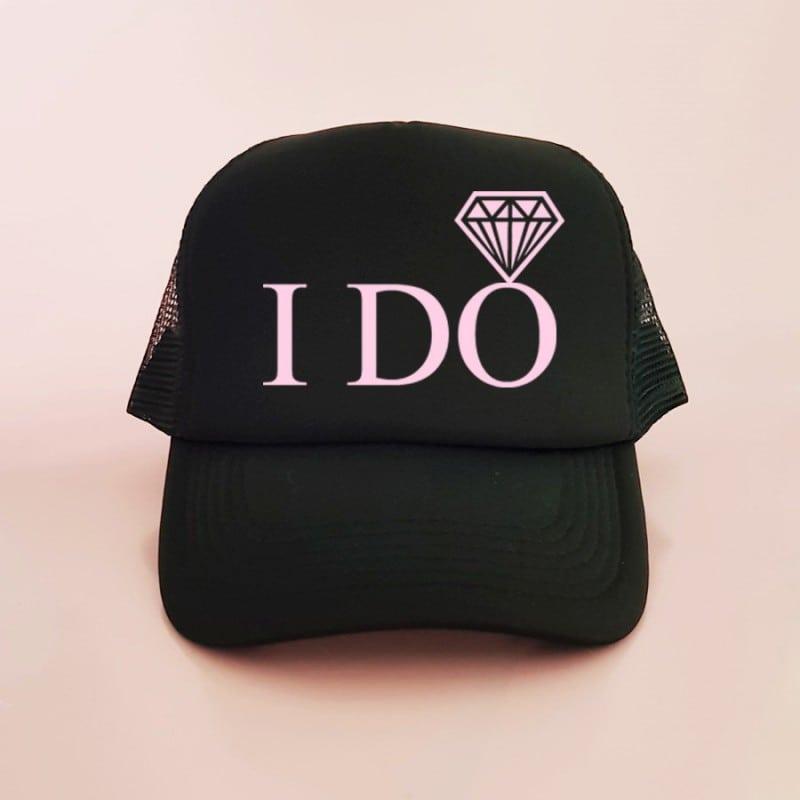 """I Do"" Μαύρο jockey καπέλο νύφης"