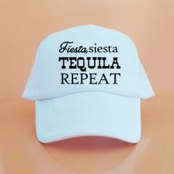 """Fiesta, Siesta, Tequila"" Λευκό bachelorette jockey καπέλο"