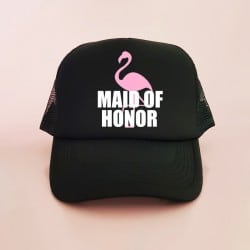 """Flamingo"" Μαύρο jockey καπέλο για την κουμπάρα"