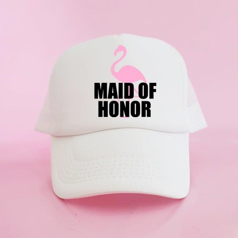 """Flamingo"" Λευκό jockey καπέλο για την κουμπάρα"