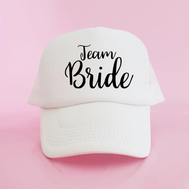 """Team Bride"" Λευκό bachelorette καπέλο για τις φίλες"
