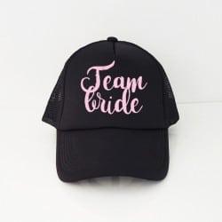 """""""Team Bride"""" Μαύρο bachelorette καπέλο για τις φίλες"""