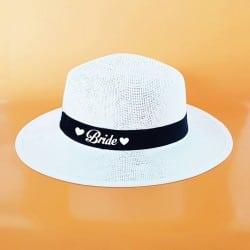 """Heart"" Λευκό τύπου panama καπέλο νύφης"