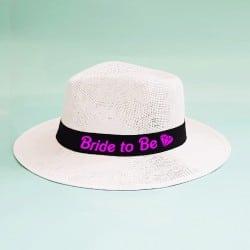 """Barbie"" Λευκό τύπου panama καπέλο νύφης"