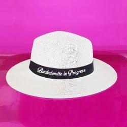 """Bachelorette in Progress"" Λευκό τύπου panama καπέλο"
