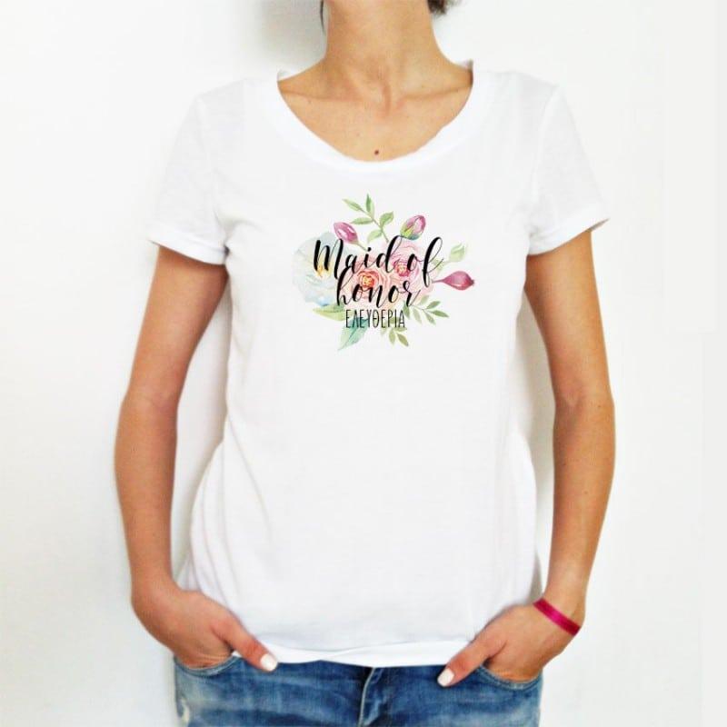 """""""Floral"""" Bachelorette Tshirt για την κουμπάρα"""