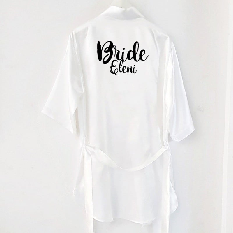 """Bride"" Σατέν νυφική ρόμπα"