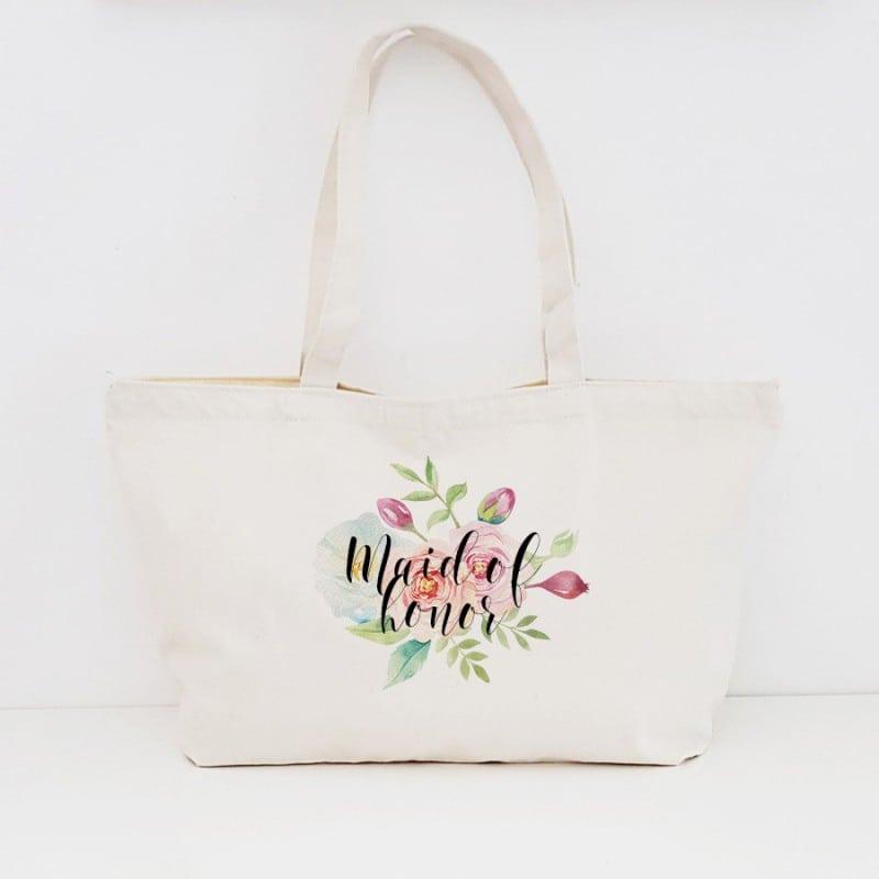 """Floral"" Τσάντα κουμπάρας με φερμουάρ"