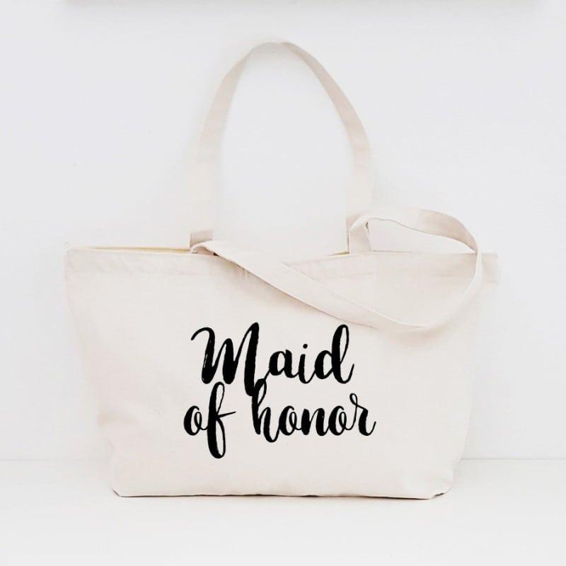 """Maid of Honor"" Τσάντα κουμπάρας με φερμουάρ"