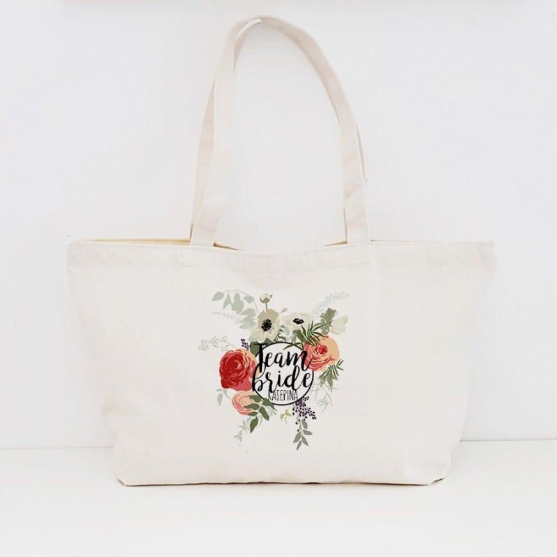"""Round Floral"" Τσάντα για τις φίλες με φερμουάρ"