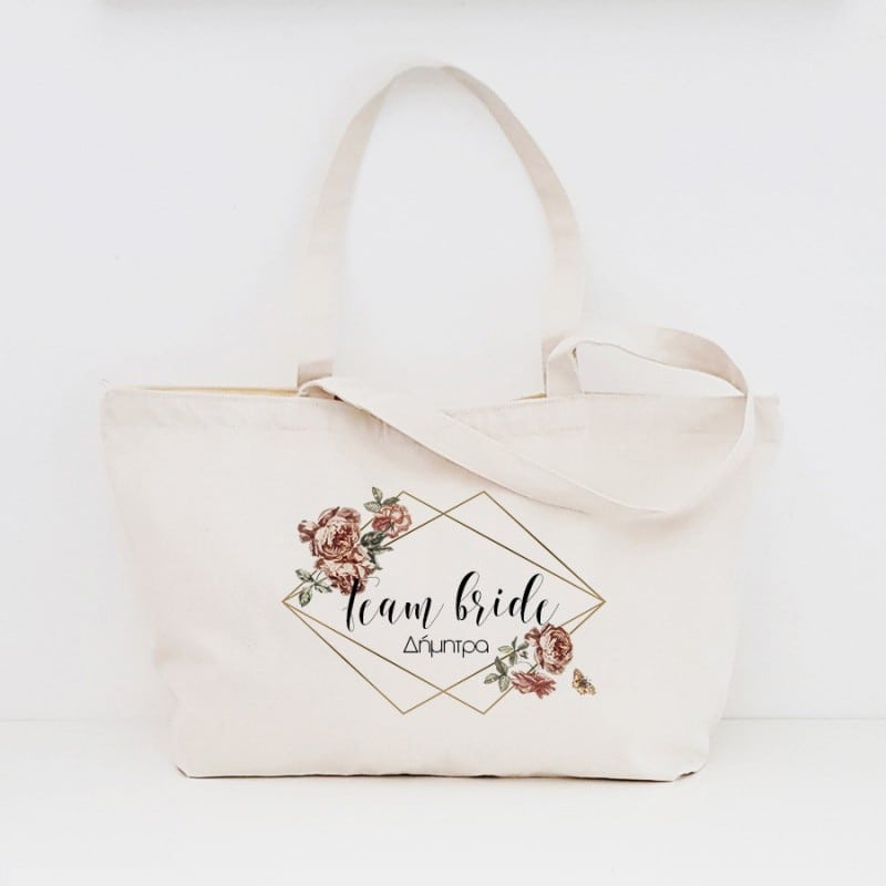 """Diamond Floral"" Τσάντα για τις φίλες με φερμουάρ"