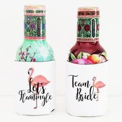 """Let's Flamingle"" Bachelorette cooler sleeve"