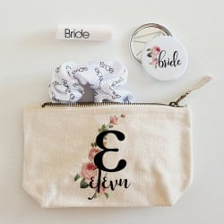 """Initial Floral Beauty Bag""..."