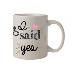 """Κούπα νύφης """"I said yes""""   Ροζ Καρδιά"""