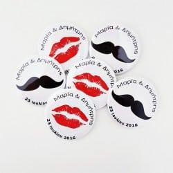 """""""Lips & Mustache"""" Κονκάρδες Γάμου"""