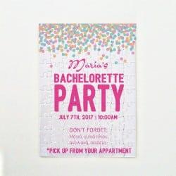 Bachelorette Πρόσκληση Puzzle & Κονκάρδα Colorful Confetti