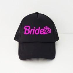 """Barbie Bride"" Μαύρο jockey καπέλο νύφης"