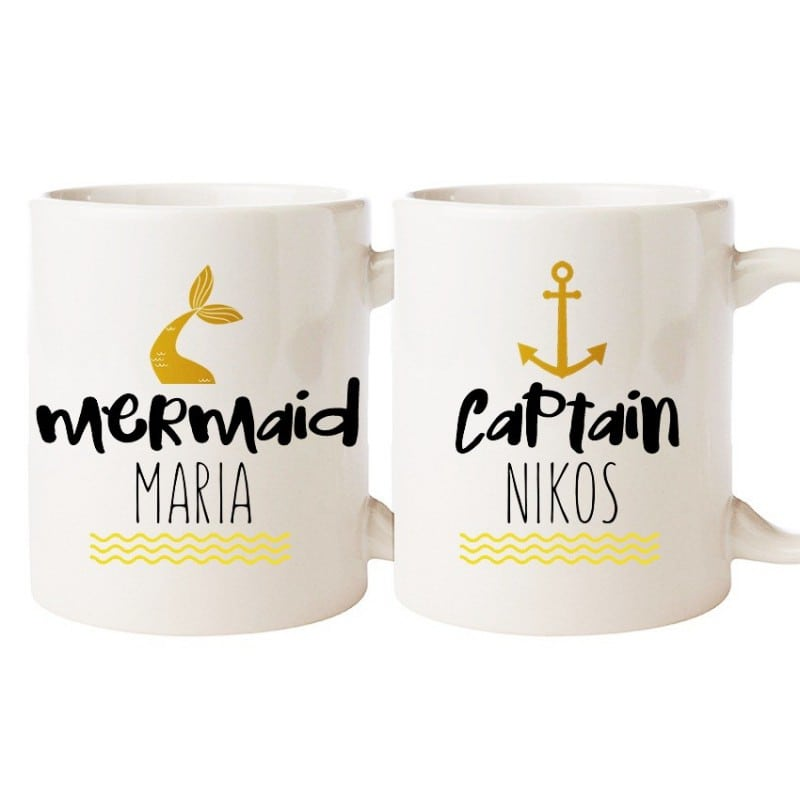 """Mermaid & Captain"" Set Κούπες"