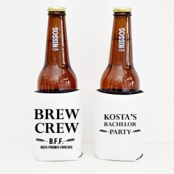 """Brew crew"" Bachelor cooler sleeve"
