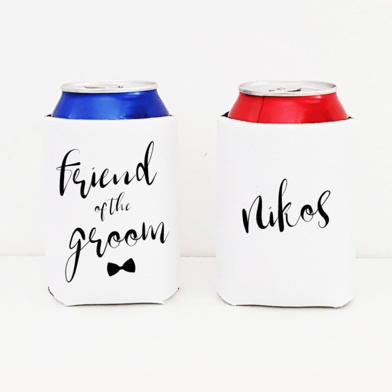 """Fancy Friend"" Bachelor cooler sleeve"
