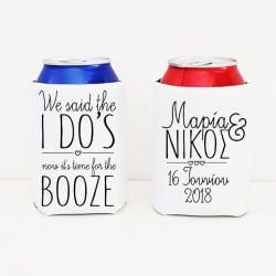 """Time for booze"" Set cooler sleeves για τη νύφη και το γαμπρό"