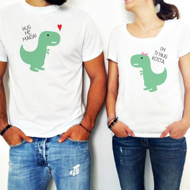 """Dinosaur hug"" Set Tshirt Για το Ζευγάρι"