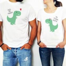 """Dino hug"" σετ tshirt για το ζευγάρι"