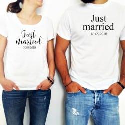 """Just Married"" Σετ tshirt για το ζευγάρι"