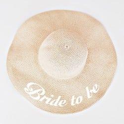 """Μπεζ πλατύγυρο καπέλο """"Bride to be"""""""