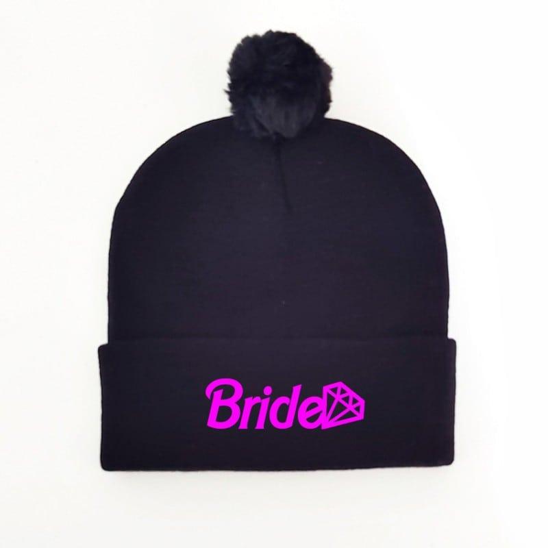 """Barbie Bride"" Μαύρος κούφος για τη νύφη με πον-πον"